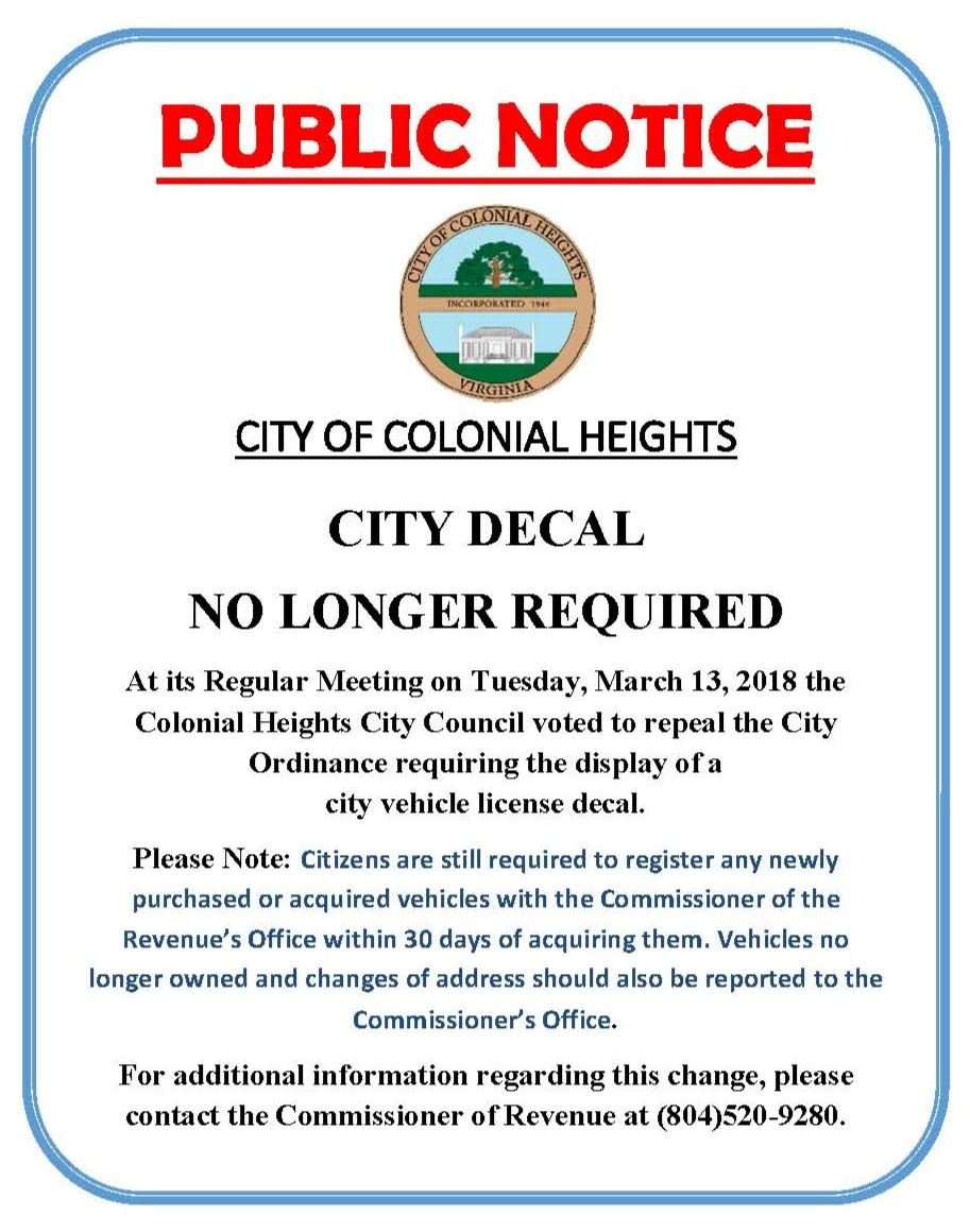 Public Notice - City Decal abolished March 2018