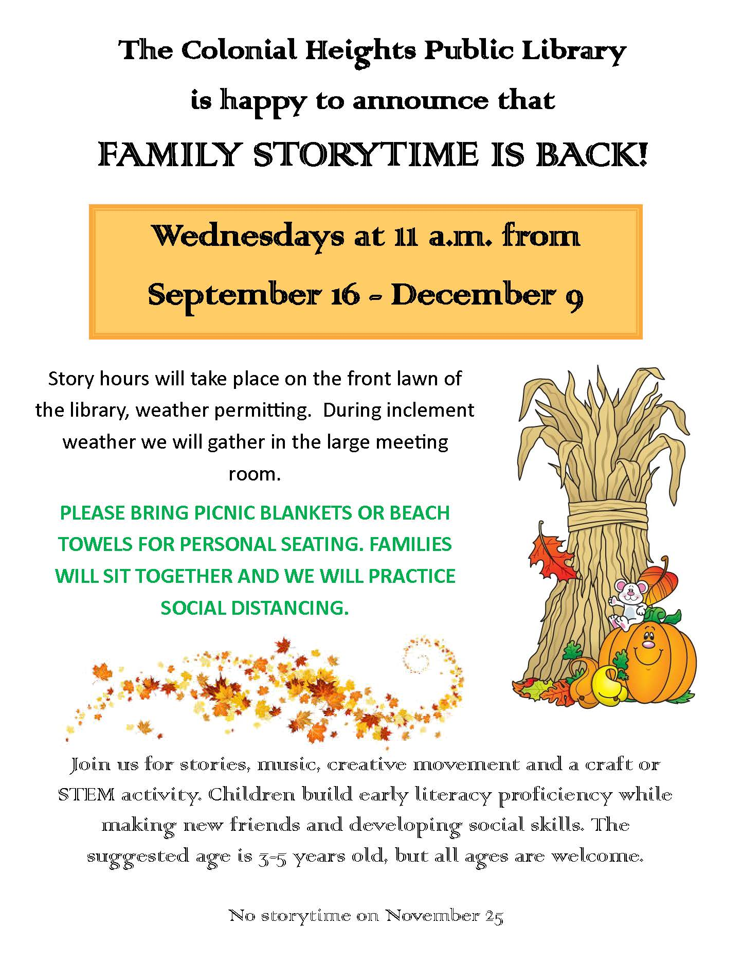 Fall 2020 Family storytime sign